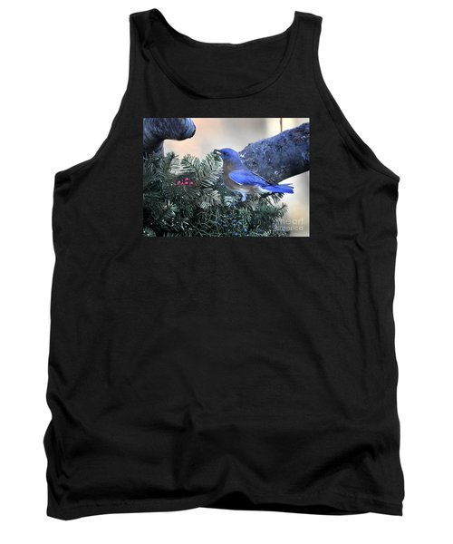 Tank Top featuring the photograph Bluebird Christmas Wreath by Nava Thompson