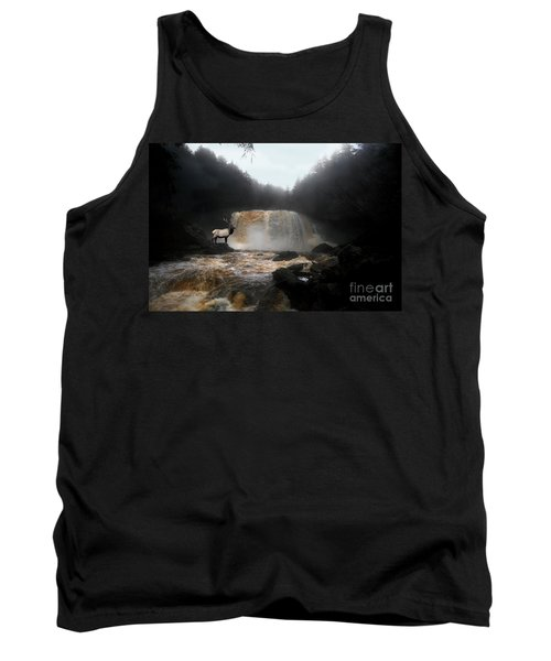Tank Top featuring the photograph Bull Elk In Front Of Waterfall by Dan Friend