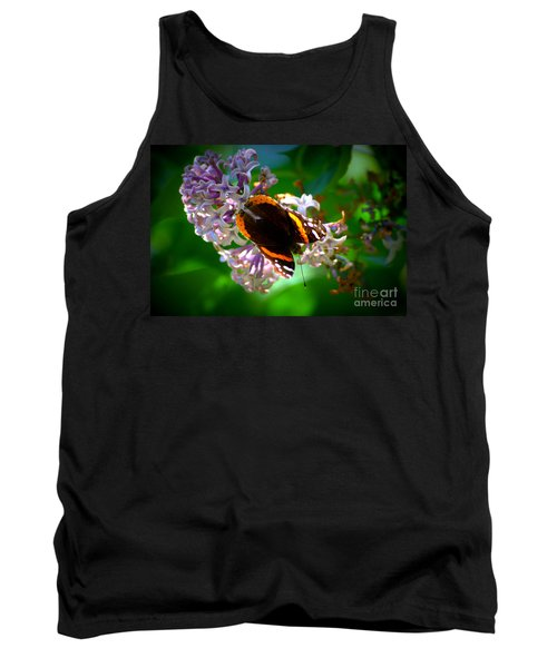 Butterfly On Lilac Tank Top by Kevin Fortier