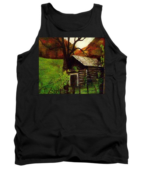 Tank Top featuring the painting Cabin By A Hillside by Christy Saunders Church