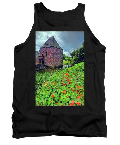 Tank Top featuring the photograph Chateau Tower And Nasturtiums by Dave Mills