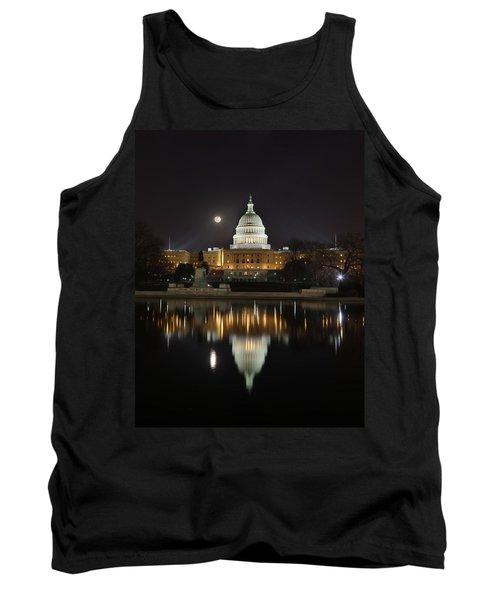 Digital Liquid - Full Moon At The Us Capitol Tank Top