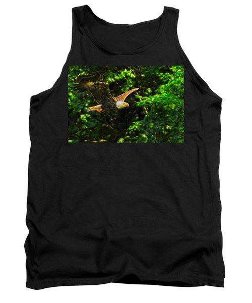 Tank Top featuring the photograph Eagle Taking Lunch To Her Babies by Randall Branham