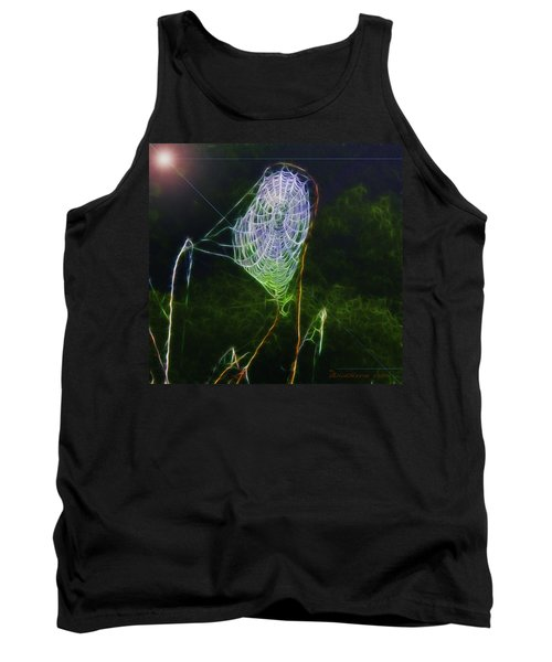 Tank Top featuring the photograph Electric Web In The Fog by EricaMaxine  Price