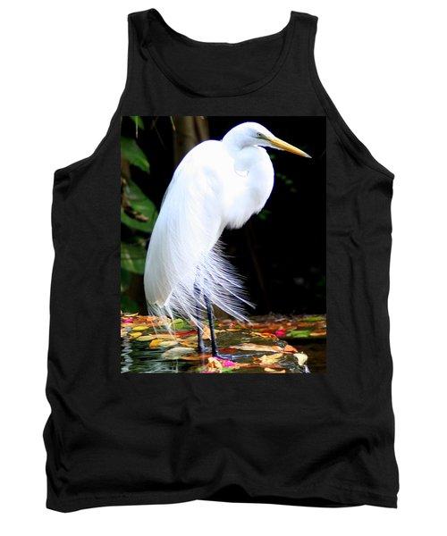Elegant Egret At Water's Edge Tank Top
