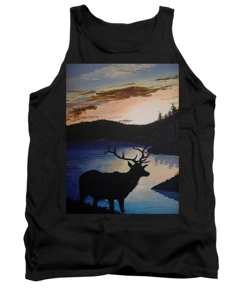 Tank Top featuring the painting Elk At Sunset by Norm Starks