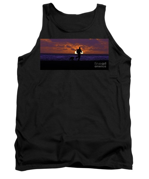 Evening Run On The Beach Tank Top by Clayton Bruster