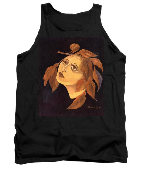 Face In Autumn Leaves Tank Top