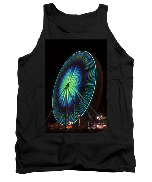 Ferris Wheel Lit Shades Of Green And Blue Tank Top