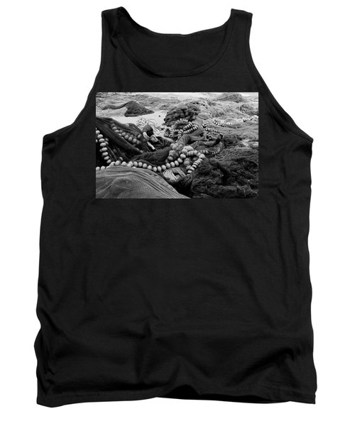 Tank Top featuring the photograph Fisherman Sleeping On A Huge Array Of Nets by Tom Wurl
