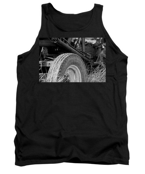 Tank Top featuring the photograph Ford Tractor Details In Black And White by Jennifer Ancker