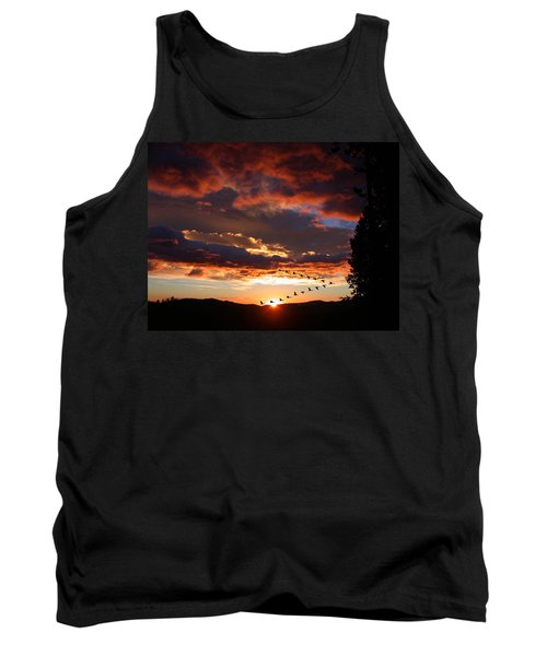 Geese Flying At Sunset Tank Top