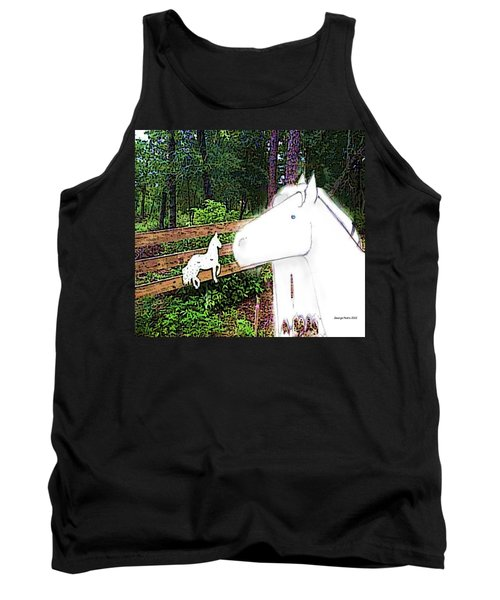 Tank Top featuring the drawing Ghost Horse by George Pedro