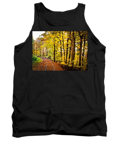 Tank Top featuring the photograph Golden Rails by Sara Frank