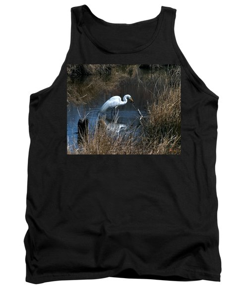 Tank Top featuring the photograph Great Egret With Fish Dmsb0034 by Gerry Gantt
