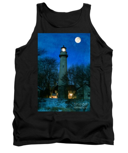 Grosse Point Lighthouse Before Dawn Tank Top by Jill Battaglia