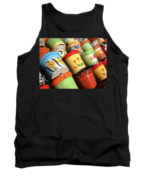 Hand Decorated Flower Pots Tank Top