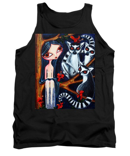 Jane And The Lemurs Tank Top by Leanne Wilkes