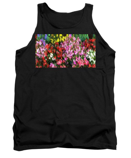 Tank Top featuring the mixed media Les Fleurs by Terence Morrissey