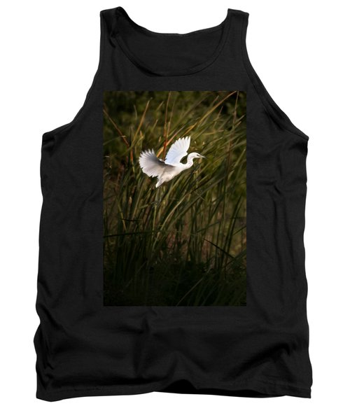 Tank Top featuring the photograph Little Blue Heron On Approach by Steven Sparks