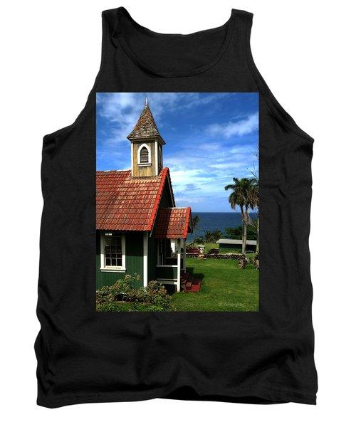 Little Green Church In Hawaii Tank Top by Dorothy Cunningham