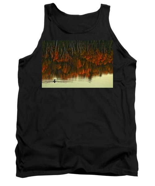 Loon In Opeongo Lake With Reflection Tank Top by Robert Postma