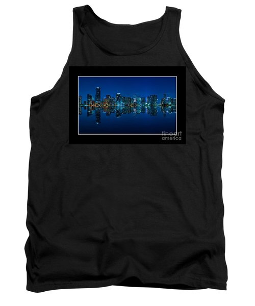 Tank Top featuring the photograph Miami Skyline Night Panorama by Carsten Reisinger
