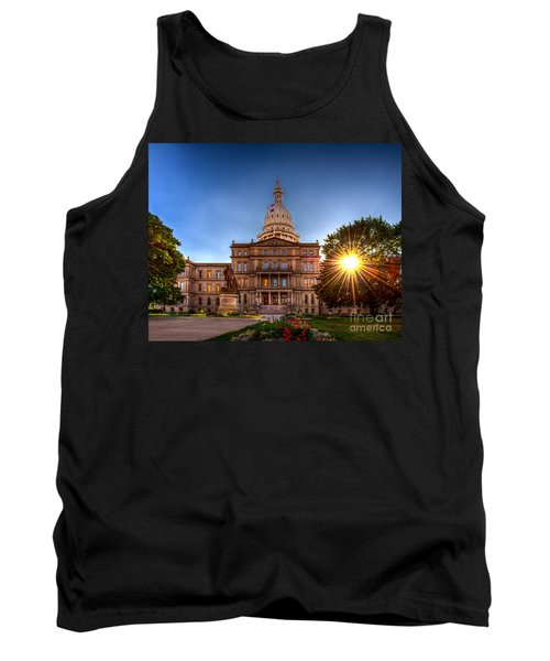 Tank Top featuring the photograph Michigan Capitol - Hdr-1 by Larry Carr