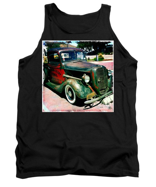 Tank Top featuring the photograph Morning Glory Coal Truck by Nina Prommer