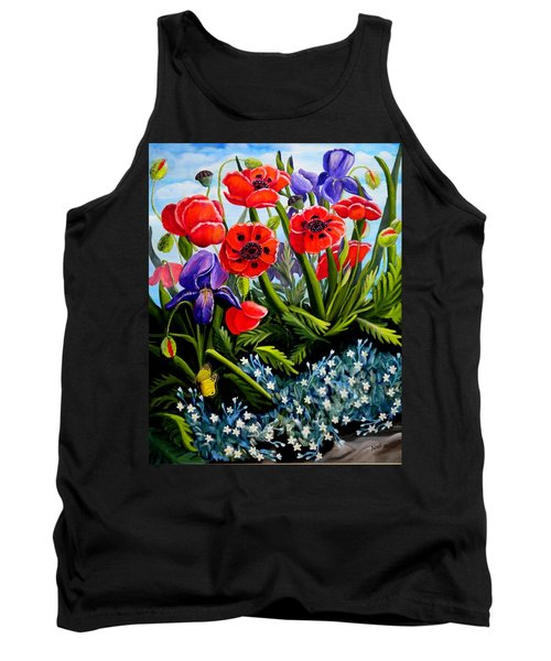 Poppies And Irises Tank Top