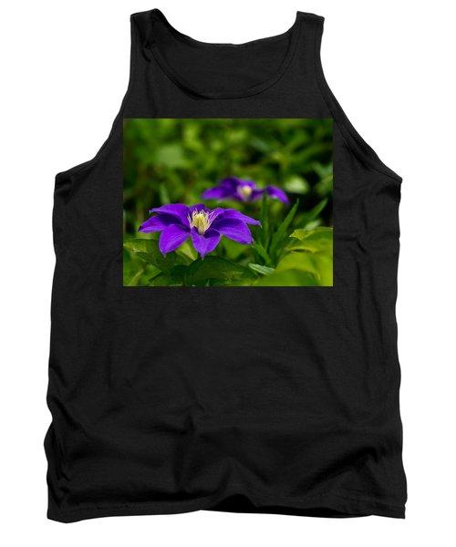 Purple Clematis Flower Tank Top