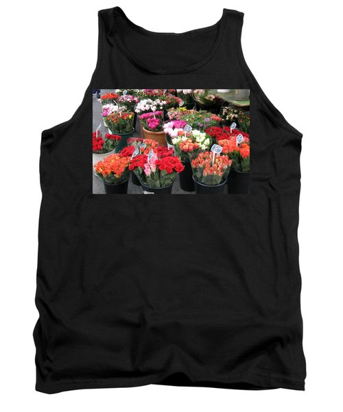 Tank Top featuring the photograph Red Flowers In French Flower Market by Carla Parris