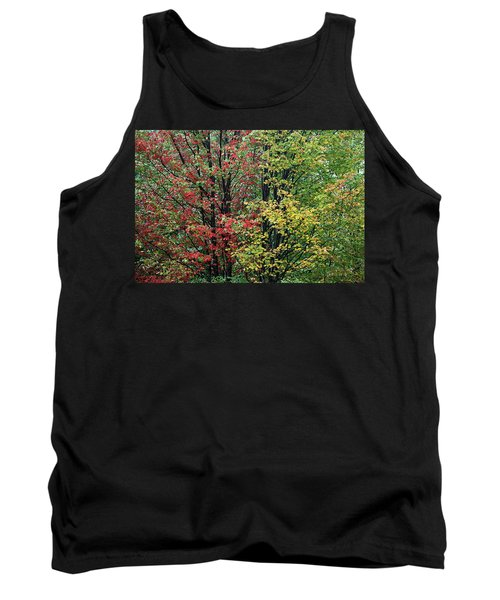 Red Yellow And Green Leaves Tank Top