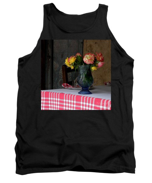 Tank Top featuring the photograph Roses In Blue Glass Vase by Lainie Wrightson
