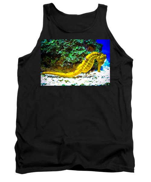 Tank Top featuring the photograph Yellow Seahorse by Toni Hopper