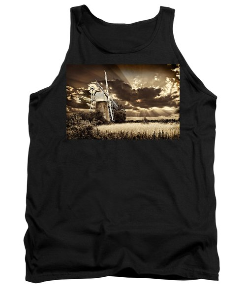 Tank Top featuring the photograph Sepia Sky Windmill by Meirion Matthias