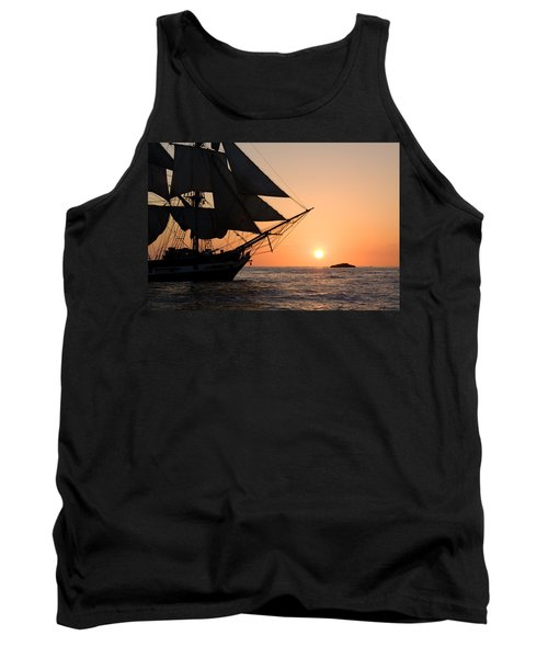 Silhouette Of Tall Ship At Sunset Tank Top