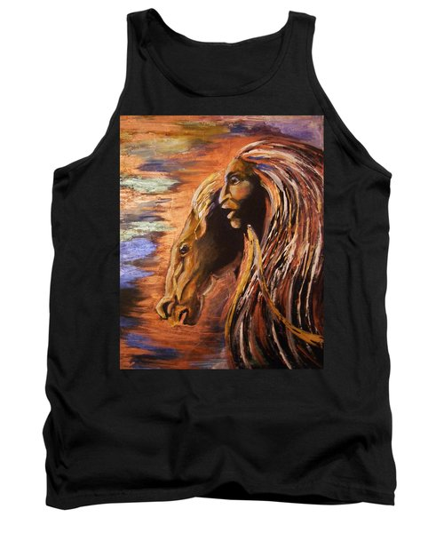 Tank Top featuring the painting Soul Of Wild Horse by Karen  Ferrand Carroll