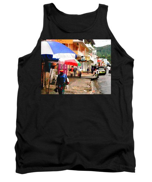 Street Scene In Rosea Dominica Filtered Tank Top