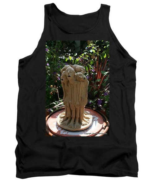 Suffering Circle Ceramic Sculpture Brown Clay  Tank Top