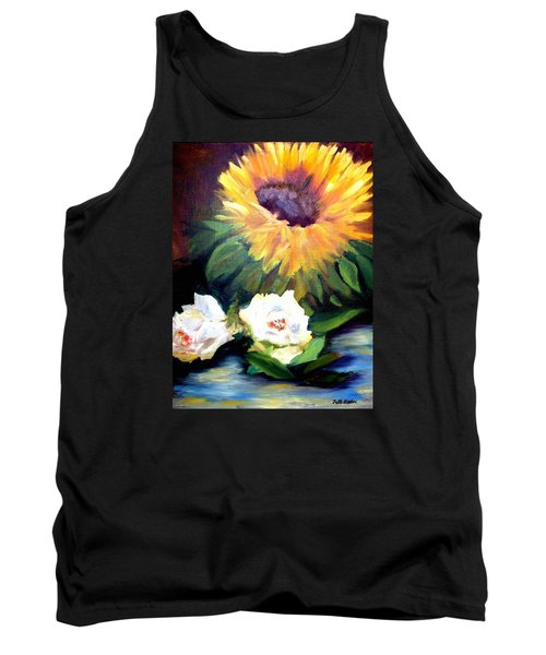 Sunflower And White Roses Tank Top