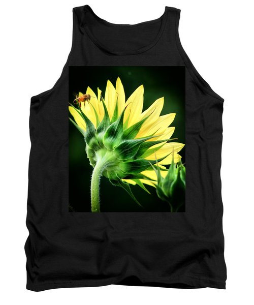 Sunflower With Bee Tank Top by Lynne Jenkins