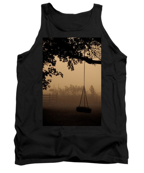 Tank Top featuring the photograph Swing In The Fog by Cheryl Baxter