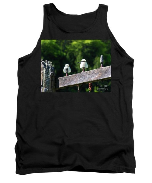 Tank Top featuring the photograph Telephone Pole And Insulators by Sherman Perry