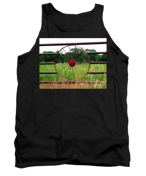 Tank Top featuring the photograph Texas Wildflowers Through Wagon Wheel by Kathy  White