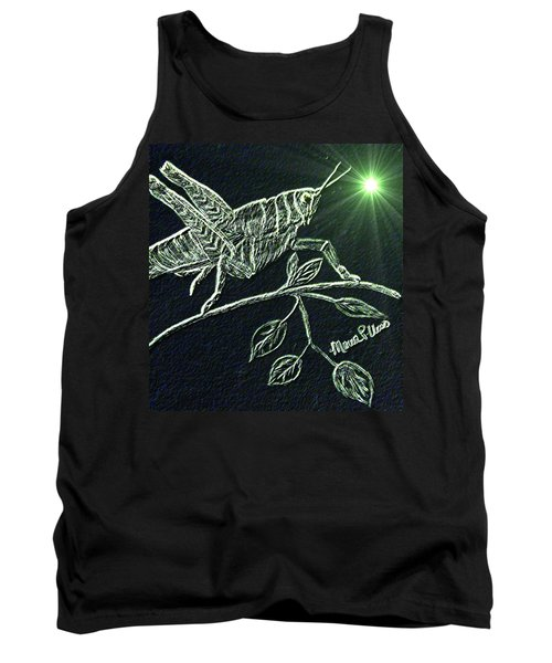 Tank Top featuring the drawing The Grasshopper by Maria Urso