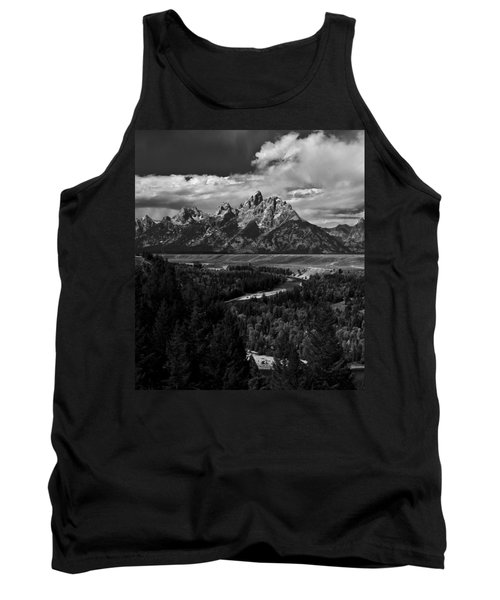The Tetons - Il Bw Tank Top by Larry Carr