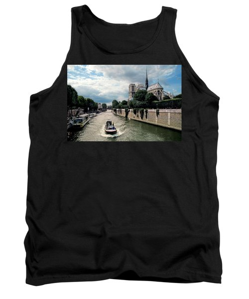 Tank Top featuring the photograph Tour Boat Passing Notre Dame by Dave Mills