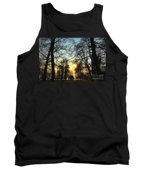 Trees And Sun In A Foggy Day Tank Top