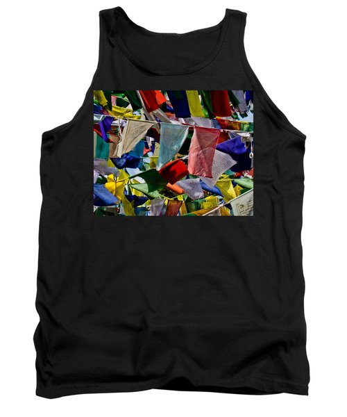 Tank Top featuring the photograph Waving Prayer Flags by Don Schwartz